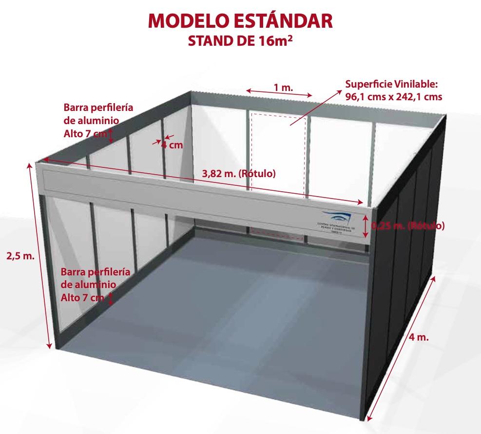 Croquis con medidas de un stand modelo standar de 16 metros cuadrados