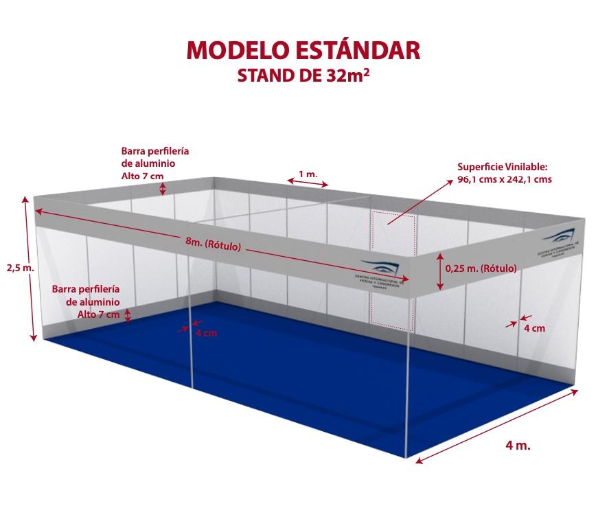 Croquis con medidas de un stand modelo standar de 32 metros cuadrados