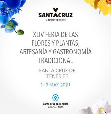 Cartel de la XLIV feria de las flores y plantas, artesanía y gastronomía tradicional con varias orquídeas de colores en las esquinas, a modo de ornamento